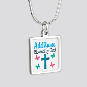 BLESSED BY GOD Silver Square Necklace