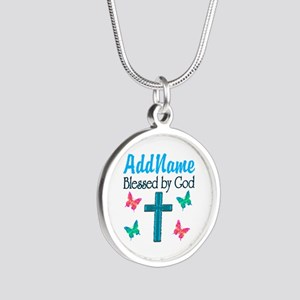 BLESSED BY GOD Silver Round Necklace