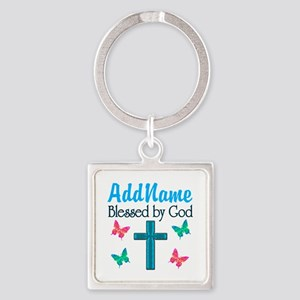 BLESSED BY GOD Square Keychain