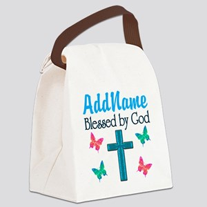 BLESSED BY GOD Canvas Lunch Bag