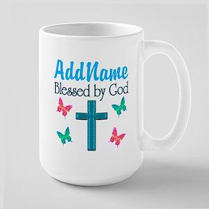 BLESSED BY GOD Large Mug