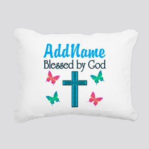 BLESSED BY GOD Rectangular Canvas Pillow