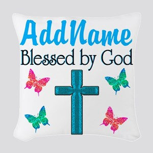 BLESSED BY GOD Woven Throw Pillow