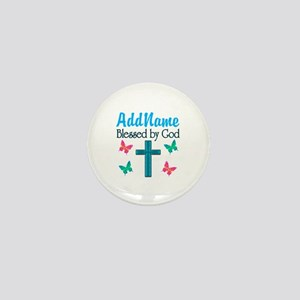 BLESSED BY GOD Mini Button