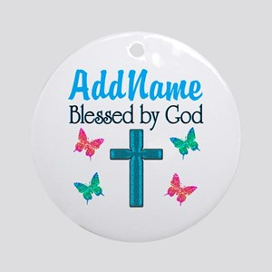 BLESSED BY GOD Ornament (Round)