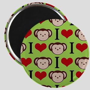 I Heart Monkeys (Green Background) Magnet