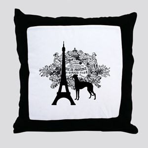 Eiffel Tower & Greyhound Dog Throw Pillow