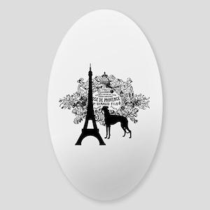 Eiffel Tower & Greyhound Dog Sticker (Oval)