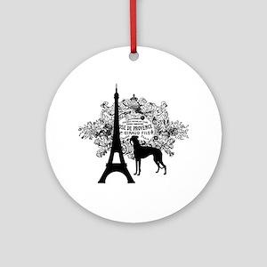 Eiffel Tower & Greyhound Dog Ornament (Round)