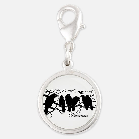 Nevermore Ravens Silver Round Charm