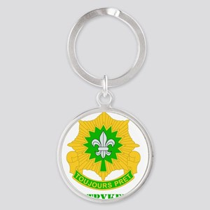 DUI-2ND CAVALRY RGT WITH TEXT Round Keychain