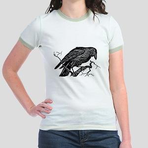 Vintage Raven in Tree Illustration Jr. Ringer T-Sh