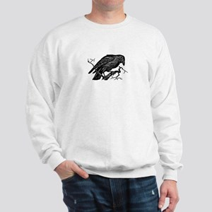 Vintage Raven in Tree Illustration Sweatshirt