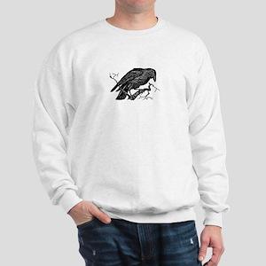 Vintage Raven in Tree Illustration Sweatshirt