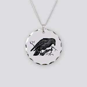 Vintage Raven in Tree Illustration Necklace Circle