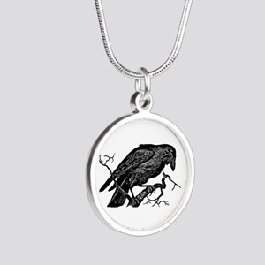 Vintage Raven in Tree Illustration Silver Round Ne