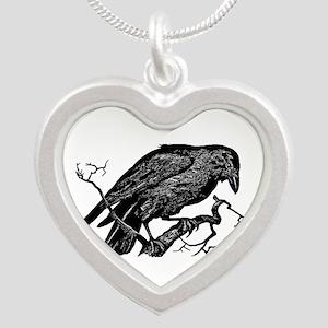 Vintage Raven in Tree Illustration Silver Heart Ne