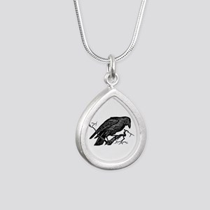 Vintage Raven in Tree Illustration Silver Teardrop