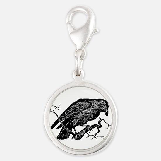 Vintage Raven in Tree Illustration Silver Round Ch