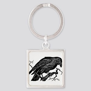 Vintage Raven in Tree Illustration Square Keychain