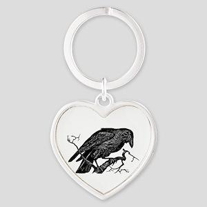 Vintage Raven in Tree Illustration Heart Keychain