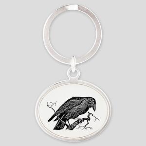 Vintage Raven in Tree Illustration Oval Keychain