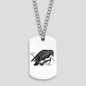 Vintage Raven in Tree Illustration Dog Tags