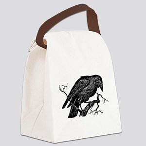 Vintage Raven in Tree Illustration Canvas Lunch Ba