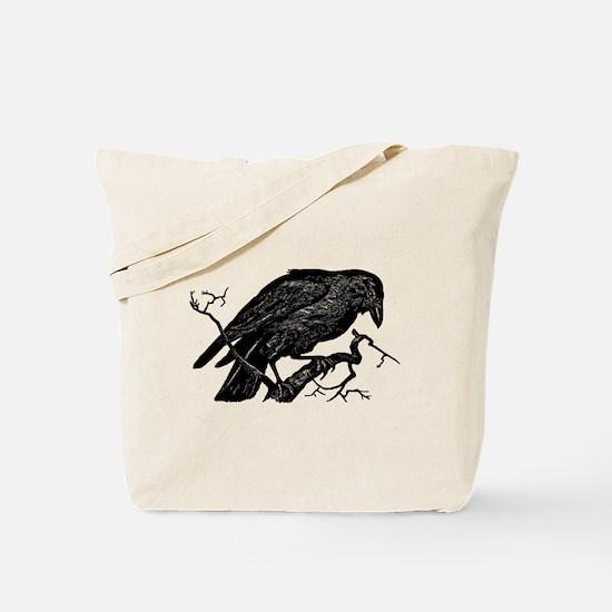 Vintage Raven in Tree Illustration Tote Bag