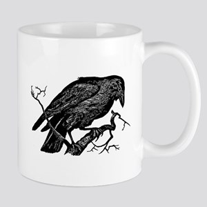 Vintage Raven in Tree Illustration Mug