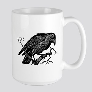 Vintage Raven in Tree Illustration Large Mug