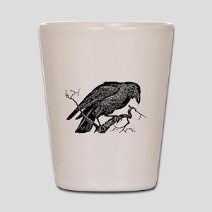 Vintage Raven in Tree Illustration Shot Glass