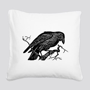 Vintage Raven in Tree Illustration Square Canvas P