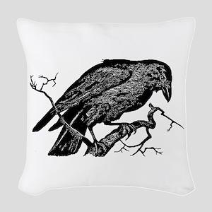Vintage Raven in Tree Illustration Woven Throw Pil