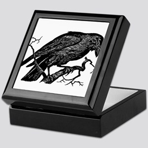 Vintage Raven in Tree Illustration Keepsake Box