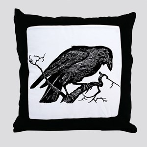 Vintage Raven in Tree Illustration Throw Pillow