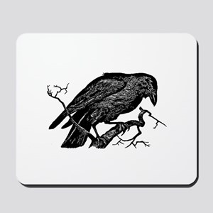 Vintage Raven in Tree Illustration Mousepad