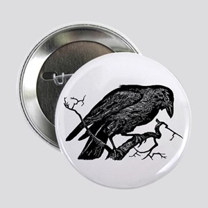 "Vintage Raven in Tree Illustration 2.25"" Button"