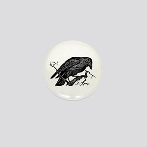 Vintage Raven in Tree Illustration Mini Button
