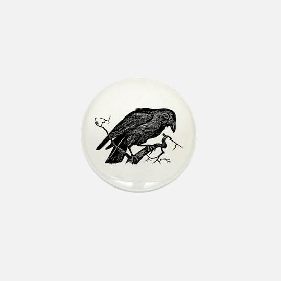 Vintage Raven in Tree Illustration Mini Button