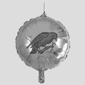 Vintage Raven in Tree Illustration Mylar Balloon