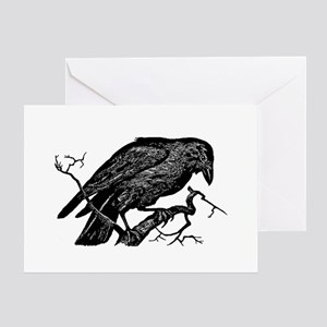 Vintage Raven in Tree Illustration Greeting Card
