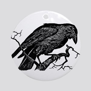 Vintage Raven in Tree Illustration Ornament (Round