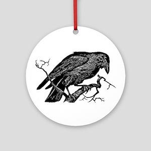 Vintage Raven in Tree Illustration Ornament (Round