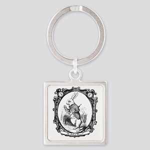 The White Rabbit Square Keychain