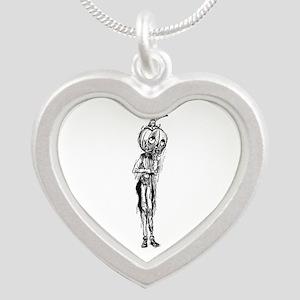 Jack Pumpkinhead Silver Heart Necklace