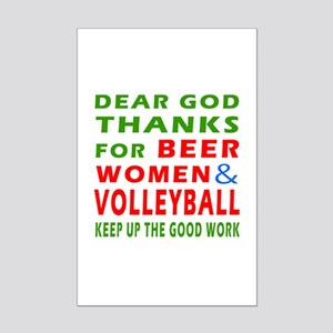 Beer Women and Volley Ball Mini Poster Print