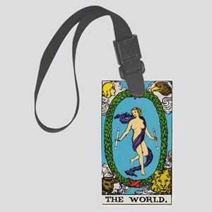 THE WORLD TAROT CARD Large Luggage Tag