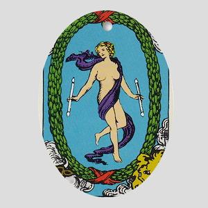THE WORLD TAROT CARD Oval Ornament