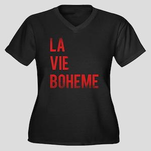 La Vie Bohem Women's Plus Size Dark V-Neck T-Shirt